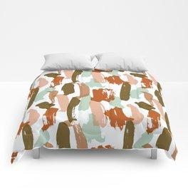 Retro Color Block Stripes Popsicle Sticks Rusty Orange Comforters