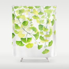 Ginkgo Watercolor  Shower Curtain