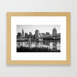Black and White Cincinnati Skyline View Framed Art Print