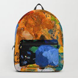 Artist palette with colorful paint spots Backpack