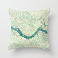 seoul Throw Pillows featuring Seoul Map Blue Vintage by City Art Posters