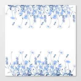 Wild Flowers in Blue and White Canvas Print