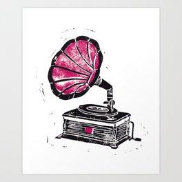 Linocut Gramophone Art Print