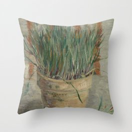 Flowerpot with Garlic Chives Throw Pillow