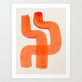 Mid Century Modern Abstract Minimalist Abstract Vintage Retro Orange Watercolor Brush Strokes Art Print