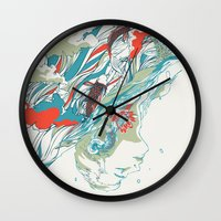 huebucket Wall Clocks featuring Colours In The Sky by Huebucket