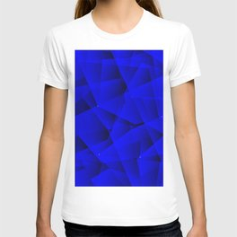 Repetitive overlapping sheets of gloomy blue paper triangles. T-shirt