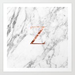 Monogram rose gold marble Z Art Print