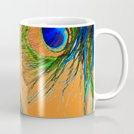 ORANGE BLUE-GREEN PEACOCK FEATHERS ART Coffee Mug