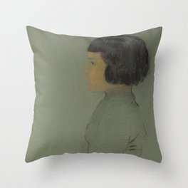 Odilon Redon - Young Woman in Profile Throw Pillow