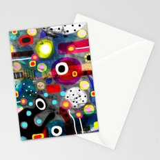 Abstract Grungy Distressed Art Dark Polka Dots Stationery Cards