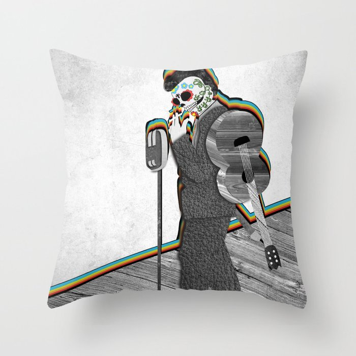 Johnny Cash Sugar Skull // Digital // Mixed Media Throw Pillow