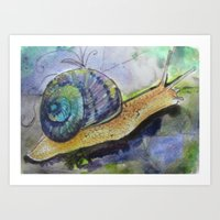 snail Art Prints featuring SNAIL by Pumpkinstrudel Studio
