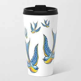 Flock Of Cute Tattoo Style Swallows Vector Travel Mug