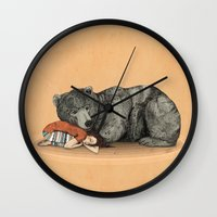 shipping Wall Clocks featuring Huntress by Sandra Dieckmann