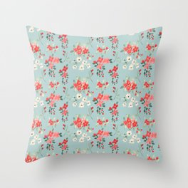 Ditsy Pink and White Floral Pattern Throw Pillow