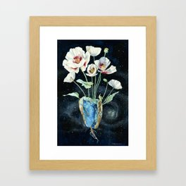 Crystal Dream and Reality, White Poppy Magic Framed Art Print