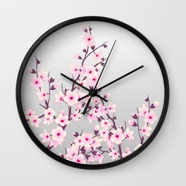 Cherry Blossoms Pink Gray Wall Clock