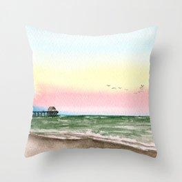Watercolor Beach Sunset, Pier on the Ocean Throw Pillow