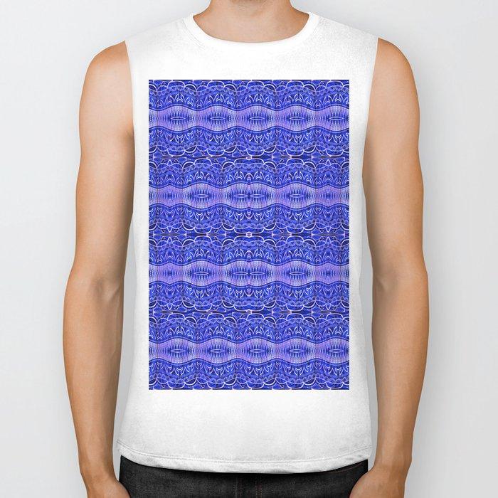 Ancient Thread Pattern Blue Biker Tank