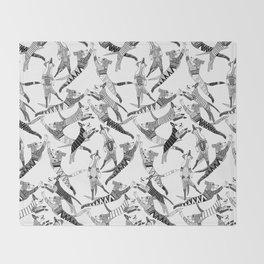 dog party black white Throw Blanket