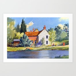 The Village Pond - Coleshill Buckinghamshire Art Print