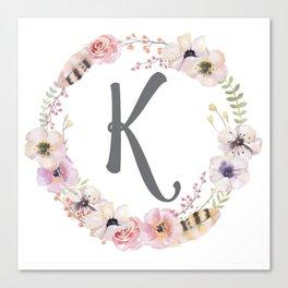 Floral Wreath - K Canvas Print