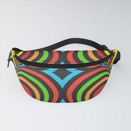 Three-dimensional volumetric pattern. colorful rainbow on black Fanny Pack