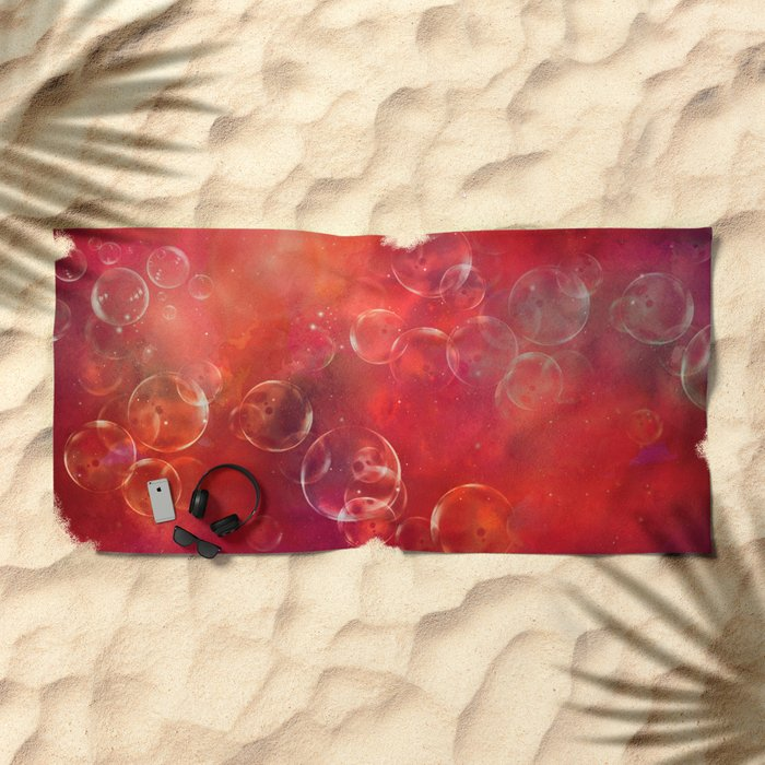 Into the red space surreal bubbles Beach Towel