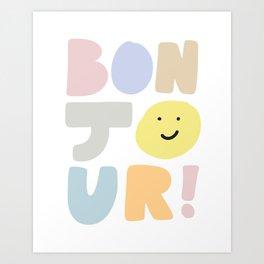 Bonjour smiley face Art Print