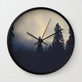 Sunset Fog Atop Mount Olympus Wall Clock
