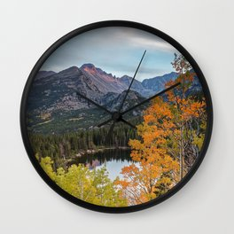 Rocky Mountain Autumn Sunset Colorado National Park Fall Landscape Wall Clock