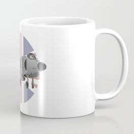 Sea Harrier Jet Fighter with UK Flag Coffee Mug