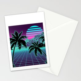 Retro 80s Vaporwave Sunset Sunrise With Outrun style grid print Stationery Cards
