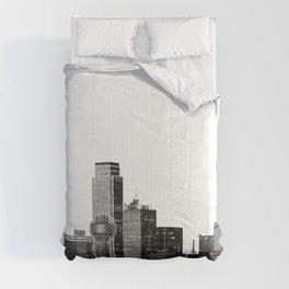 Dallas Texas Skyline in Black and White Comforters