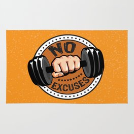 No Excuses Gym Fitness Motivational Quote Rug
