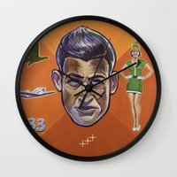 pilot Wall Clocks featuring Pilot by Terry Luc