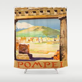 Vintage Pompei Italy Travel Shower Curtain