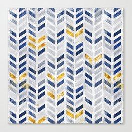 2019 Herringbone Chevron Pattern Indigo Blue Faux Gold Canvas Print