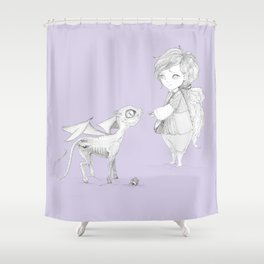 Luna Lovegood and baby thestral Shower Curtain