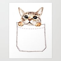pocket Art Prints featuring Pocket cat by Anna Shell