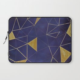 Gold Triangle Geometric Pattern on Indigo Blue Laptop Sleeve