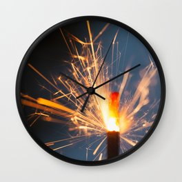 Festive Glowing Sparkler For Holidays Wall Clock
