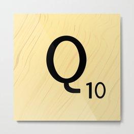 Scrabble Q - Large Scrabble Tile Letter Metal Print