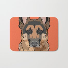 German Shepherd Art Poster Dog Icon Series by Artist A.Ramos. Designed in Bold Colors Bath Mat