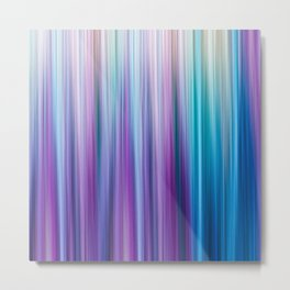 Abstract Purple and Teal Gradient Stripes Pattern Metal Print