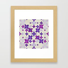 Deluxe Ornate Pattern Design in Blue and Fuchsia Colors Framed Art Print