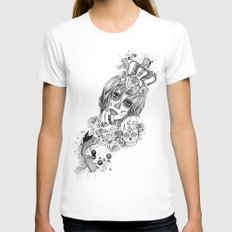Sugar Skull Queen MEDIUM White Womens Fitted Tee