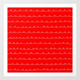 Scarlet Curlicues Art Print