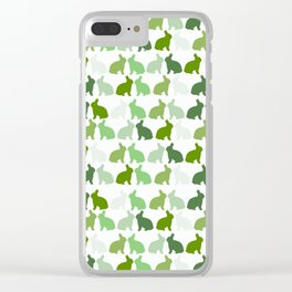 Green Bunnies Rabbit Bunny Easter Spring Pattern Print Clear iPhone Case